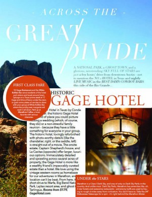 Austin Magazine Gage Hotel Press Clip