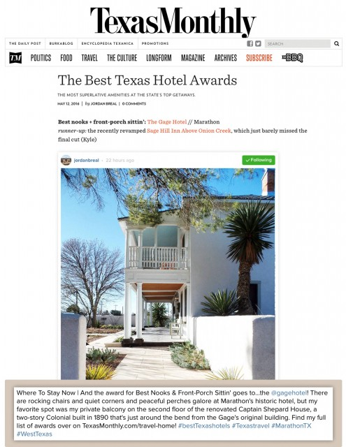 The Best Texas Hotel Awards _ Gage Hotel