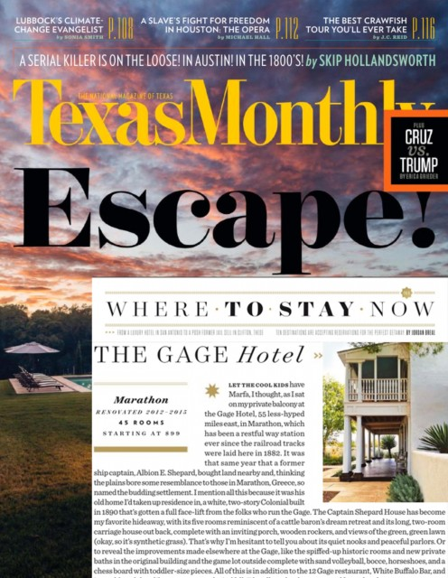 Where to Stay Now 2016_Gage Hotel_Texas Monthly
